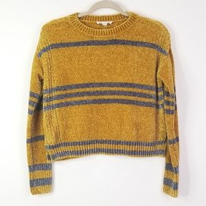 Yellow and gray chenille cropped sweater